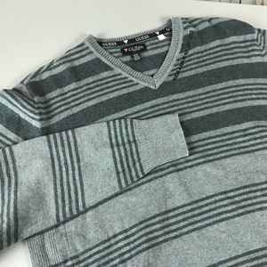 Guess Men's Striped Sweater Size M Gray V-Neck